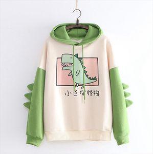 Inverno Womens Hoodies camisola do dinossauro impressão manga comprida Patchwork Treino Oversize Pullover Hoodies Mulheres Sudadera Mujer