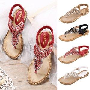 Мода Роскошные Rhinestone сандалии женщин плоские туфли алмаз моды Bling пляжа сандалии Black Silver Gold