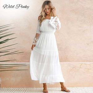 WildPinky الصيف فستان الشمس المرأة شاطئ اللباس الأبيض حمالة كم طويل فضفاض مثير قبالة الكتف الرباط بوهو الشيفون فستان ماكسي 200928