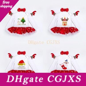 New Girls Christmas Dress With Hairband Romper Skirt Cotton Lace Edge Tree Socks Deer Printed 0 -24m Long Sleeve