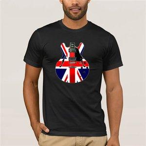 Новый летний Повседневный печати TShirt моды новых мужчин британский флаг Union Jack Lead Guitar TShirt новые тенденции моды
