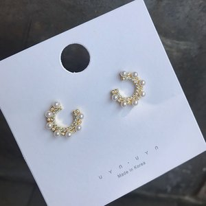 Hot Sale S925 Vintage Style Pearl Stud INS Fashion Ziron Circle Women Earrings Wedding Party Design Earrings for Bride