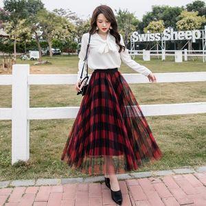 2020 Large size Women Mesh Tulle Skirts Fashion Elastic High Waist Mesh Skirt Long Skirts Midi Skirt Saias Faldas Jupe Femmle