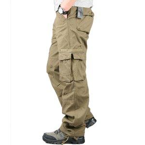 Pantalon Casual coton hommes poches en vrac Salopette Nouveau épais ruban Pantalon Hommes Printemps Automne Hiver Baggy Cargo Pants