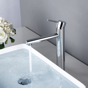 Bagnolux Großhandel einzigartigen Entwurfs-Chrom überzogenes Silber Bassin-Hahn-Behälter-Wannen-Mischer-Hahn-Hochkörpereinzel Waschbecken Wasserhahn