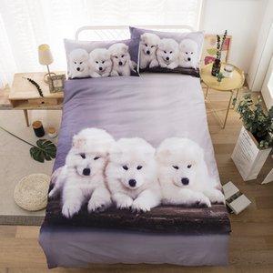 Cartoon Dog Ensemble housse de couette Adultes Garçons Enfants animaux Linge de maison Taies double Plein Roi Queen Bedding Set Textiles de maison 3pcs