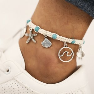 New beach foot accessories string style starfish sea wave lines shell pendant embedded pine stone anklet