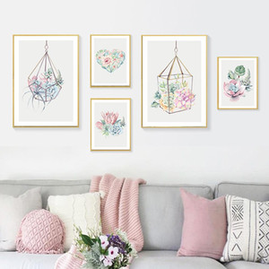 Succulent Plant Art Canvas Poster Nordic Wall Painting Print Cactus Flower Picture For Living Room Scandinavian Home Decor