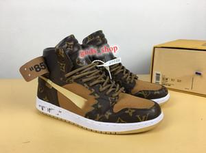 NIKE Air Jordan 1 AJ1 Louis Vuitton LV shoes High OG jeu réel Toe Banned Ombre Bred NRG UNC Blanc Hommes 1S Brisé Tableau d'affichage Médaille Chaussures Baskets Sneakers Off