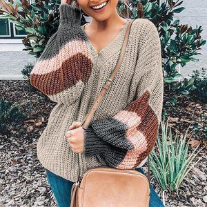 2019 Women Autumn Winter Thin Sweater V neck Shirts Lantern Sleeve Stripe Colorblock Patchwork Pullover Streetwear Plus Size Top