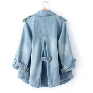 2020 Spring Autumn New Female Suit Collar Retro Denim Jacket Double Breasted Ladies Loose Outerwear Solid Casual jeans Jackets