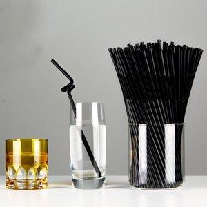 noir jetable en plastique souple Straws vin paille jus d'anniversaire d'enfants décoration de mariage fournitures événement magasin 100Pcs