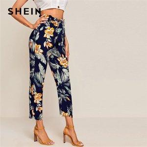 Shein multicolor Paperbag cintura tropical de la impresión Pantalón a mitad de las mujeres con cinturón de otoño de Boho cónicos pantalones de las señoras de los pantalones