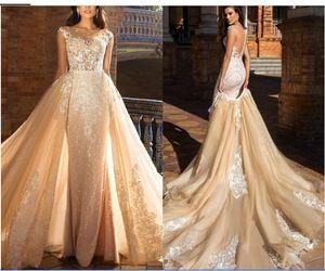 Milla Nova Champagne Mermaid Wedding Dress Sheer Neck Lace Applique Sleeveless Illusion Button Back Detachable Wedding Gown Bridal Dress