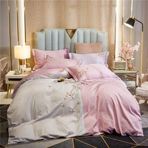 100% cotton Bedding sets Queen King size Bed Duvet cover Bed sheets linen set flowers embroidery set