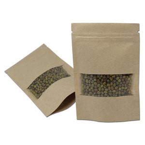30pcs / lot Kahverengi Kraft Kağıt Penceresi ile Yukarı Bakkal Depolama Paketi Çanta Doypack Isı Seal Snack Kuruyemiş Paketi Bag Standı