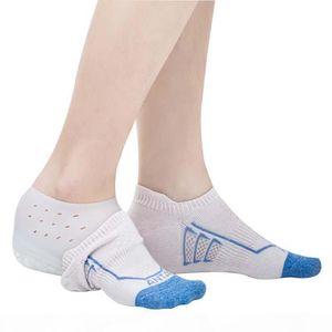 2 centímetros aumentar a altura gel de silicone Pads em Meias Protect Heel Levante Foot Care palmilha Invisible Shoes fascite plantar Pad