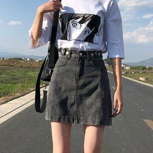 49LeC 데님 우산 apron- 라인 짧은 치마 여성의 여름 새로운 한국어 스타일의 세련된 높은 허리 우산 앞치마 모든 경기 엉덩이 치마를 슬리밍