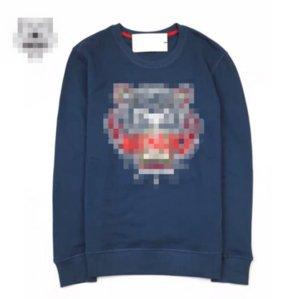 2020 Logo New Popular Hoodie para homens e mulheres bordada Tiger Design Cabeça de lã Anel Cotton Fashion Street Hoodie 7 Cores 2080506B