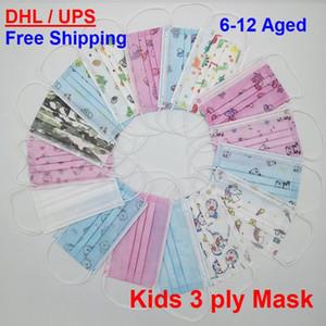 Maske 16 Patterns Kinder 3-Schicht-3ply Bunte Schutz-Kind-Kind-Gesichtsmaske mit Ventil DHL-freiem Verschiffen