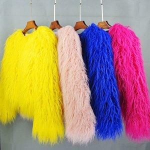 women's fur coat Colorful Furry Pink lamb wool faux fur coat female Shaggy plus size sheepskin coat winter artificial fur jacket