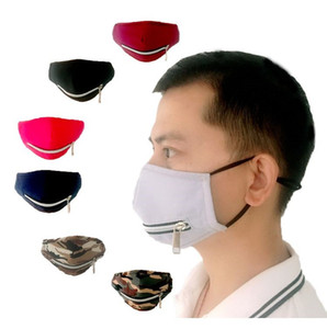 Gesichtsmaske mit justierbarem Zipper Staubdichtes Baumwolle Waschbar Schutz Designer Masken 7styles FWC1407