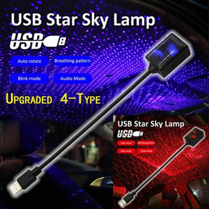 For Car Decoration 1pc LED Car Roof Star Night Light Projector Atmosphere USB Decorative Lamp Adjustable Lighting Effects Mayitr