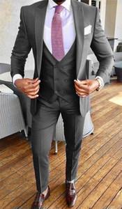 Custom-made One Button Groomsmen Peak Lapel Groom Tuxedos Men Suits Wedding Prom Dinner Best Man Blazer(Jacket+Pants+Tie+Vest) W361