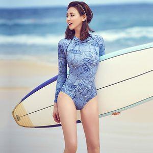 Women's Athletic One Piece Swimsuit Long Sleeve Rash Guard Swimming Back Zip Bathing Suit Swimwear Padded Monokini Surf Suit