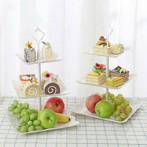 3 уровня Пластикового Стенд торт чаепитие Свадебных Тарелок партия Посуда для выпечки Cake Shop трехслойной торт стойки для хранения лотка