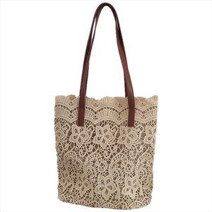 Fashion Women Shoulder Bag Big Lace Female Handbag Lady Floral Tote Women Shopping Bag Ladies Totes Champagne