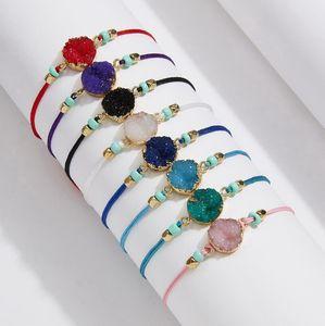 Handmade Druzy Resin Stone Bracelet Make a Wish Card Wax Rope Braided Bracelets Bangles With Rice Bead for Women Girls Summer Beach Jewelry