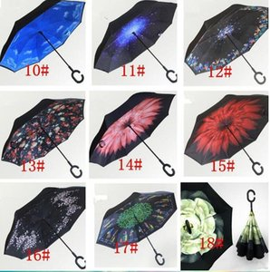 Reverse Umbrellas Windproof Reverse Layer Inverted Umbrella Inside Out Stand Windproof Umbrella Inverted Umbrellas sea shippin GWD8477