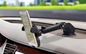 Car Windshield Dashboard Phone Holder universal Cell Phone Holders Suction Mount Stand Retractable 360 Degree rotation for iPhone X 50pcs