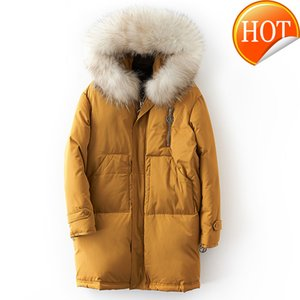 Women's Down & Parkas White Winter 90% Duck Jacket Women Real Raccoon Fur Collar Hooded Long Coat Female Thick Warm Loose MY597