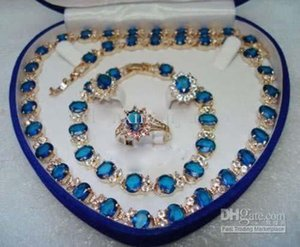 Blue Stone Sapphire 18KT Yellow Set Crystal Necklace Bracelet Earrings Ring Jewelry set
