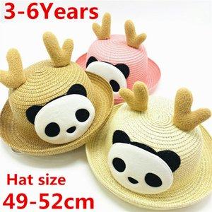 Gorro Дети Соломенная шляпка Cute Summer уха украшения шлемов Sun для детей девочек мальчиков Твердая Floppy Бич Cap Panama