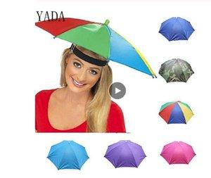 야외 우산 모자 캡 참신 접이식 일 날 비오는 날 핸즈프리 무지개 접는 방수 여러 가지 빛깔의 모자 캡
