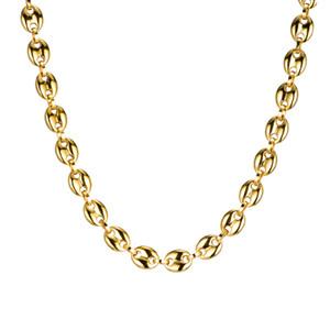 Feijão de aço inoxidável 316L de café Chain Link cadeia corda Fazer a ligação 11MM Colar For Men aço inoxidável colares Moda Hip hop Homens Jóias