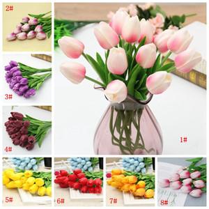 Latex tulipes artificielles PU Bouquet de fleurs Fleurs réel contact pour la maison Décoration de mariage Fleurs décoratives 21 Couleurs Option DBC BH4010