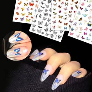 Prego borboleta Foil Set Flor Transferência Nail Art Sticker Floral Nails Decal Sliders para o prego Verão Adhesive Manicure CH1624