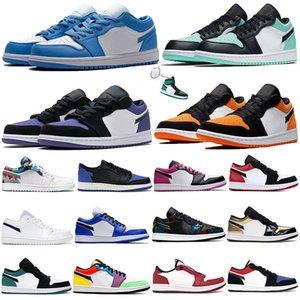 Jumpman Düşük 1 1s UNC basketbol ayakkabıları çam yeşil gri siyah yelken zümrüt ayak üstü 3 Travis Scotts eğitmenler erkekler kadınlar spor ayakkabısı gölge