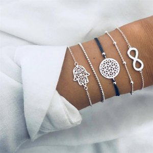 cmoonry 5Pcs Set Fashion Hollow Palm Round 8 Shape Infinity Charm Bracelets For Women Girl Vintage Silver Color Beads Bracelet