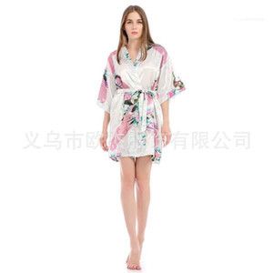 Summer Womens Robe Sexy V Neck 1 2 Sleeve Knee Length Belt Loose Sleepwear Womens Designer Pyjamas Peacock Floral Printed