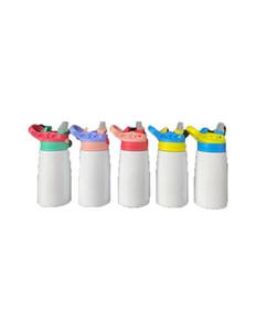 Art und Weise DIY Sublimation Blanks Edelstahl Doppel-Wand 12 Unzen Kinder Bottle Tumbler mit Ausguss Straw Deckel DHL schnelles Verschiffen EWC1027