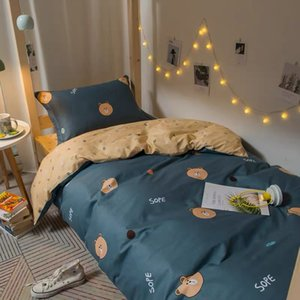 Pure cotton dormitory bed set of three students upper and lower bedspread sheet cotton single bedroom bedding girl