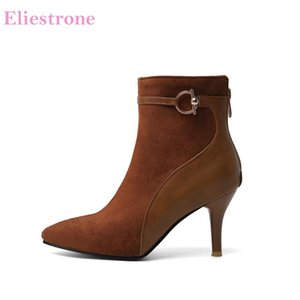 Hot 2020 Brand New Elegant Wine Brow Black Women Ankle Dress Boots Sexy High Heels Lady Shoes Plus Big Small Size 10 30 43 45 48