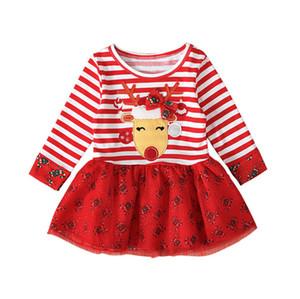 2020 Christmas Halloween Dress Kids Long Sleeve Round Neck Dresses Stripe Elk Printed Baby Girls Dress Fashion Kids Party Clothing E92701