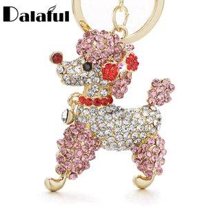 Beijia Adorável cão Poodle bowknot Cristal Chaveiros Chaveiros para Car Mulheres Alloy Purse Bag Chaveiro Titular Anel K307