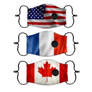 Cara da forma Máscara americano Reino Unido Alemanha Canada Flag Impressão Máscara lavável ajustável com máscara de respiração Válvula de protecção